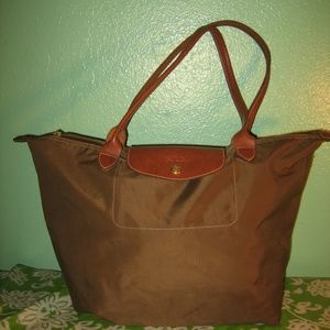 "LONGCHAMP ""Distressed"" Large Olive Green Tote Bag"
